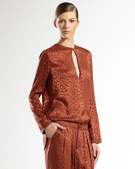 Silk Leopard Jacquard Shirt, Burnt Sand