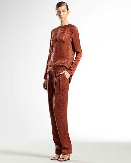 Silk Leopard Jacquard Pants, Burnt Sand