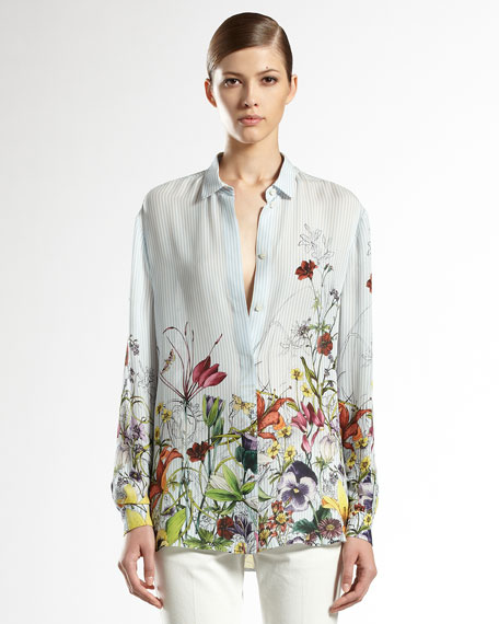 Flora Infinity Printed Silk Shirt