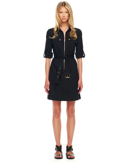 Belted Zip Shirtdress