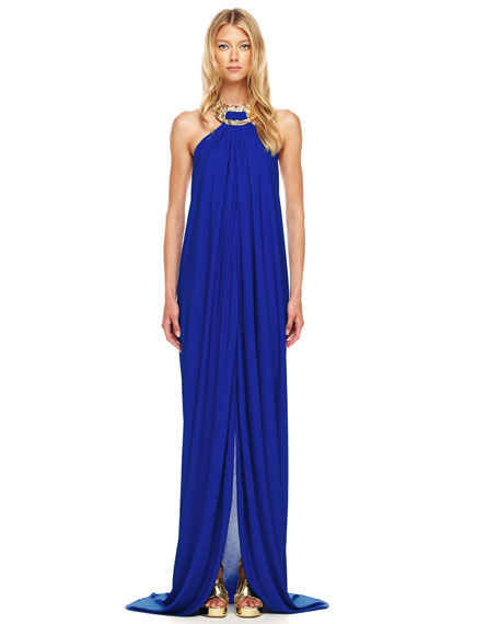 Jeweled Halter Gown