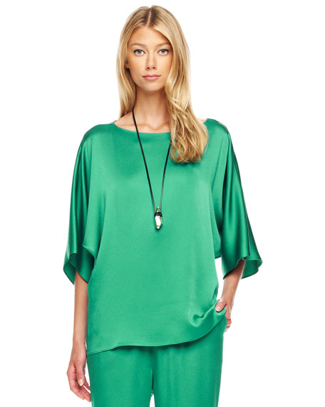 Boat-Neck Charmeuse Top
