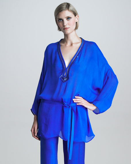 Sequin-Trimmed Chiffon Tunic, Ultramarine