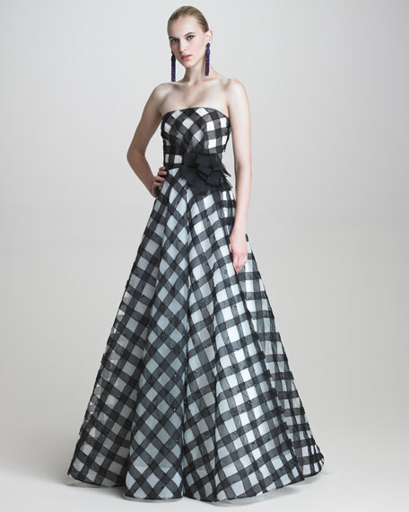 Strapless Gingham Gown