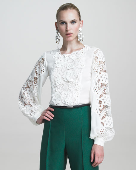 Blouse with Embroidered Lace