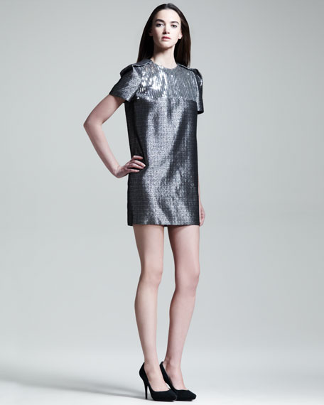 Sequined-Bodice Folded-Shoulder Shift Dress