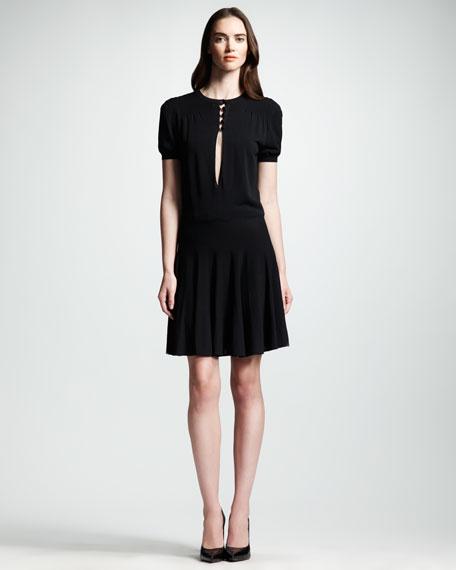 Flounce-Skirt Keyhole Dress