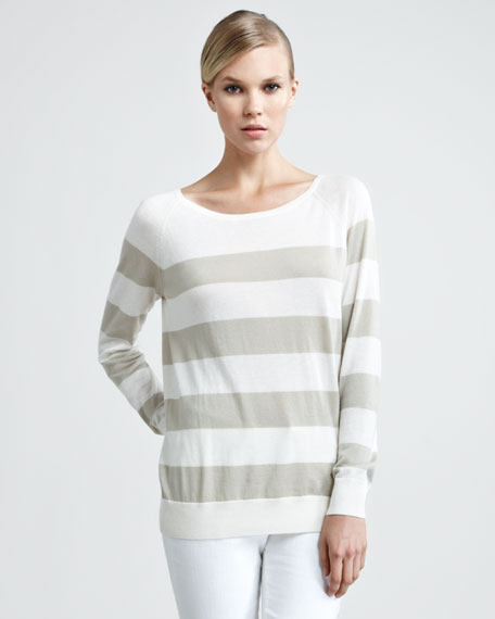 Natalie Striped Sweater with Scarf, Stone