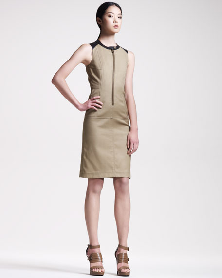 Leather-Trim Zip Dress