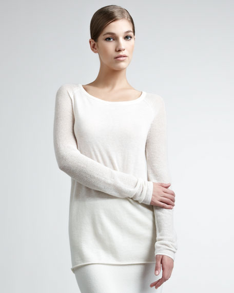 Cashmere Mesh-Sleeve Pullover
