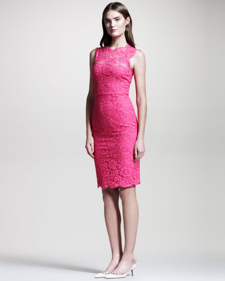 Bow-Back Lace Sheath Dress, Fuchsia
