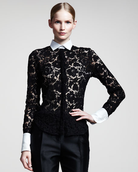 Contrast-Collar Lace Blouse