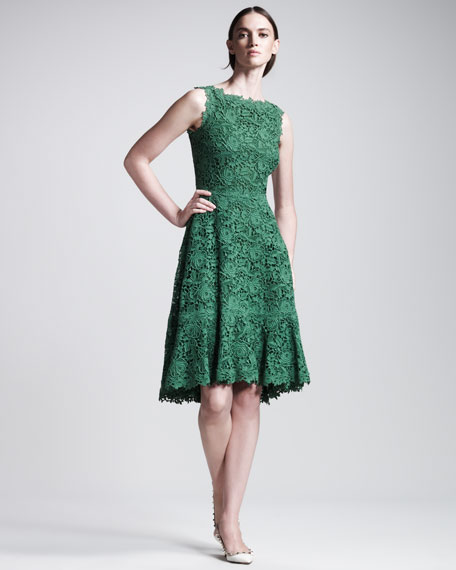 Floral Macramé Dress, Emerald