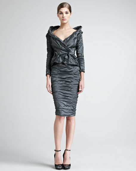 Crushed Stretch-Metallic Skirt