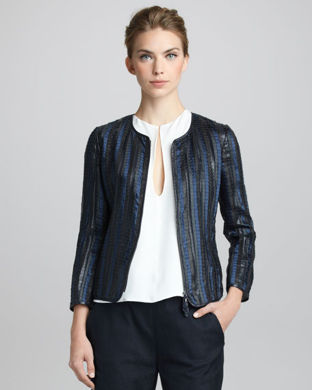 Woven Leather and Organza Jacket