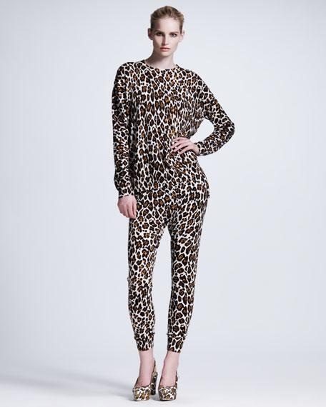 Leopard-Print Jogging Pants