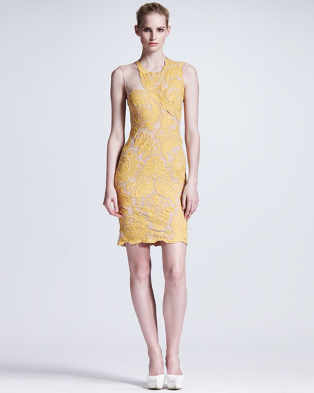 Nude-Illusion Lace Sheath Dress