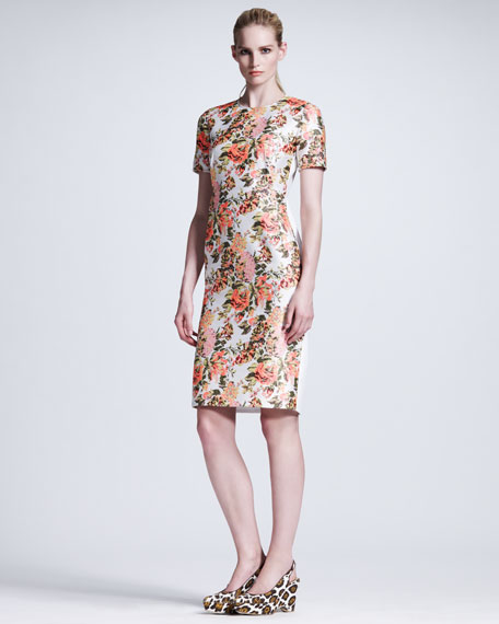 Floral-Front Short-Sleeve Dress