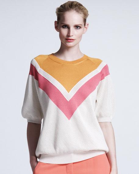 Chevron Mesh Sweater, Bright Pink/White