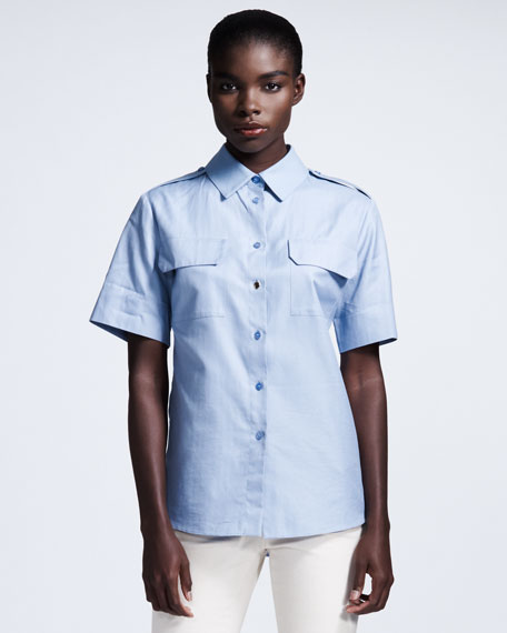 Short-Sleeve Poplin Blouse