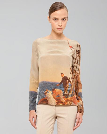 Prince Albert Sailing Print Silk Crepe Tunic