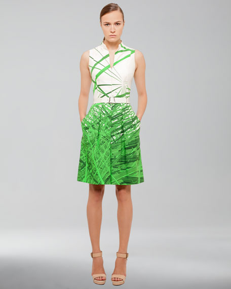 Reed-Print Cotton-Stretch Dress, Grass