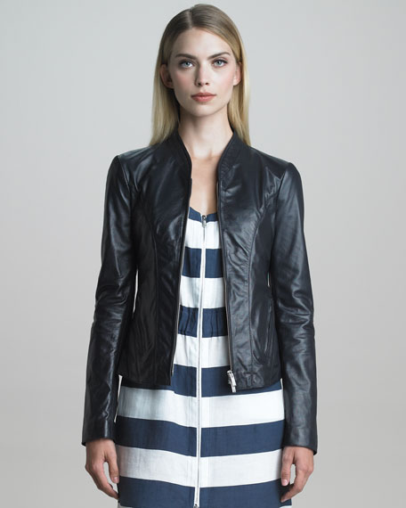 Fitted Zip-Front Napa Leather Jacket