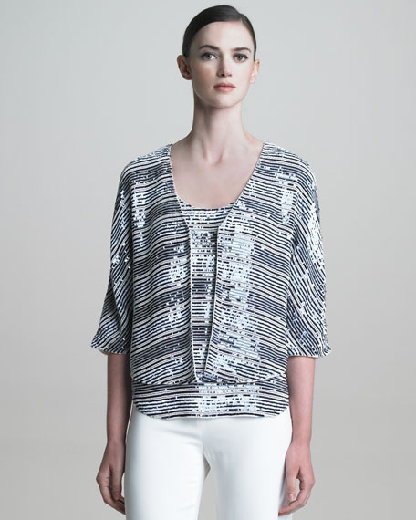 Nautical Sequin-Striped Jacket