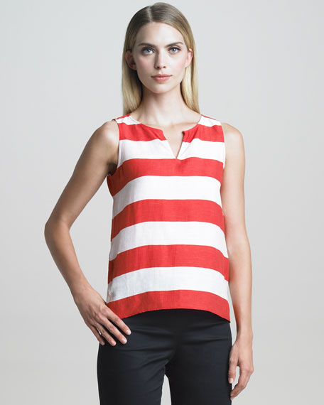 Sleeveless Nautical-Striped Linen Top