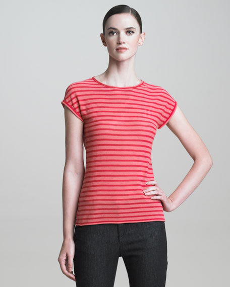 Cap-Sleeve Striped Knit Top, Blush/Multi
