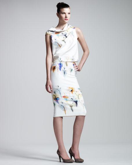 Yama Iris-Print Skirt