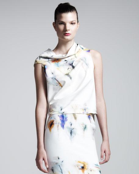 Eugene Iris-Print Stretch-Cotton Top