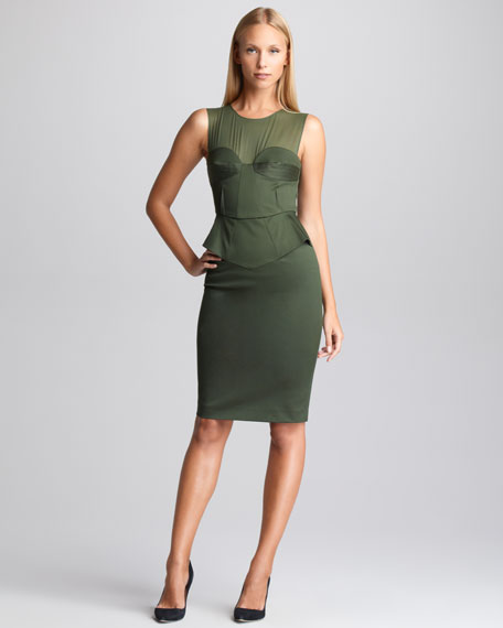 Sateen Peplum Dress, Khaki