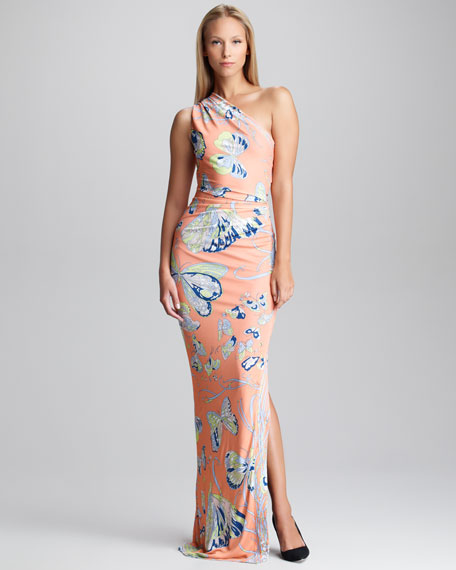 Butterfly-Print One-Shoulder Gown