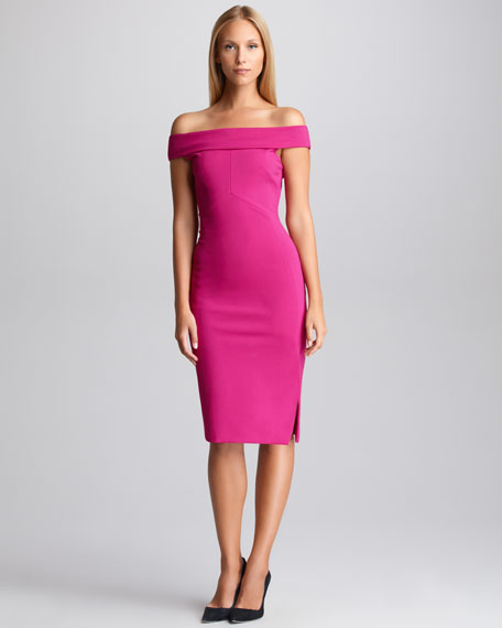 Off-the-Shoulder Sheath, Fuchsia