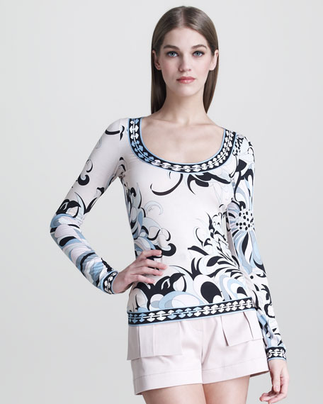 Border-Print Long-Sleeve Tee