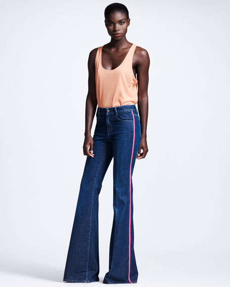 Neon-Piped Flare Jeans