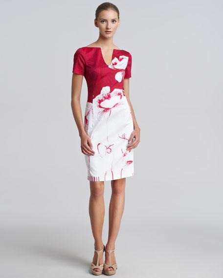 Poppy-Print Sateen Sheath Dress