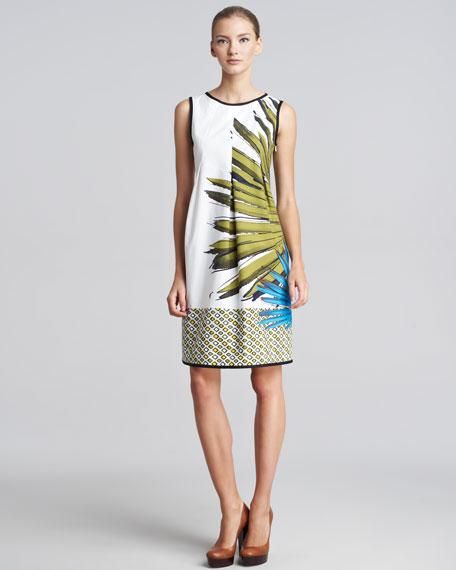 Palm-Print Cotton Dress