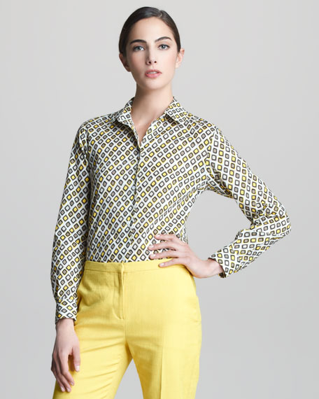 Tie-Print Voile Shirt