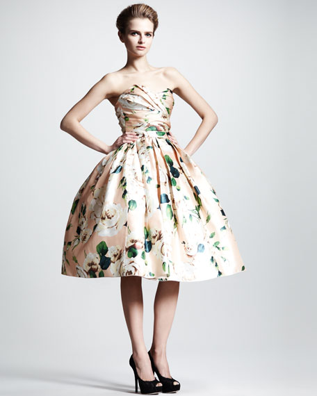 Convertible Floral-Print Silk Dress