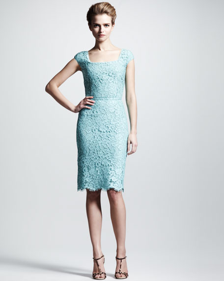 Cap-Sleeve Lace Dress