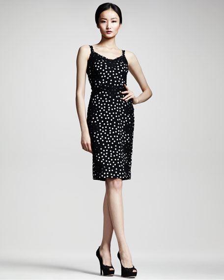 Lace-Applique Polka-Dot Sheath Dress