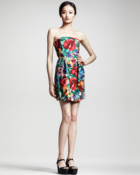 Floral-Print Strapless Dress
