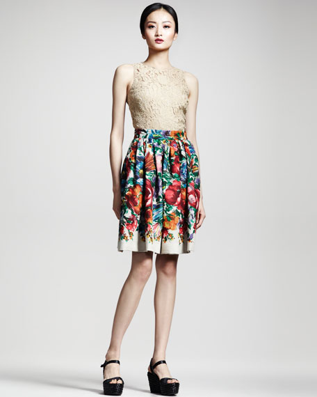 Floral-Print Linen Skirt