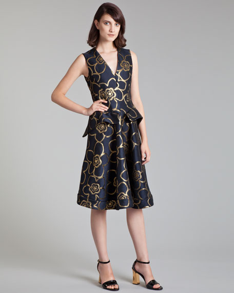 Metallic Jacquard Peplum Dress