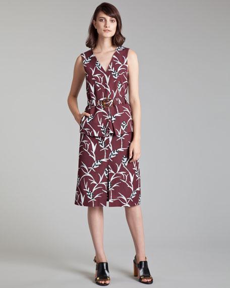 Floral-Print Faille Skirt