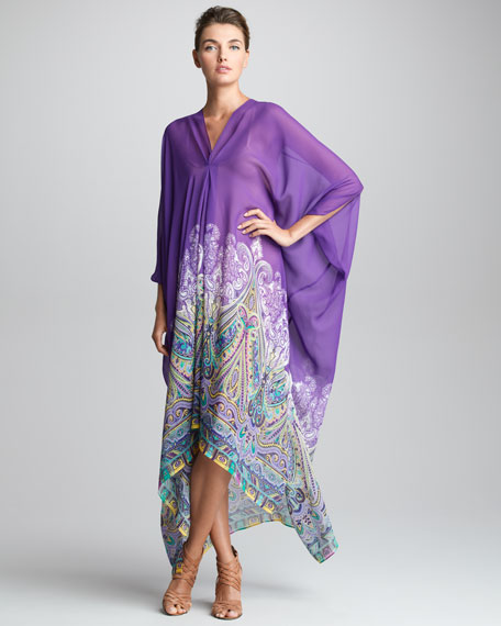 V-Neck Caftan, Purple