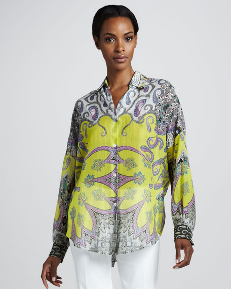 Long Dolman-Sleeve Button-Front Tunic