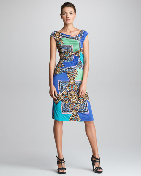 Asymmetric-Ruched Dress, Blue
